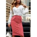 Womens Stylish Simple Plain Fashion Button Down Midi Bodycon Skirt