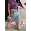 Girls Summer Trendy Light Blue Raw Hem Mini A-Line Asymmetrical Denim Skirt