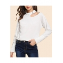 Hot Popular Cutout Halter Neck Long Sleeve Plain White Pullover Sweatshirt