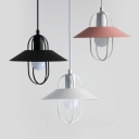 Metal Cage Saucer Drop Light Modern Simple 1 Light Hanging Pendant in Black/Pink/White