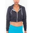 Womens Hot Fashion Plain Long Sleeve Zip Up Grey Sport Cropped Hoodie