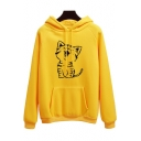 Funny Cartoon Happy Cat Printed Long Sleeve Sport Loose Hoodie