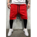 Summer New Trendy Zipper Embellishment Drawstring Waist Men's Simple Plain Casual Sports Shorts