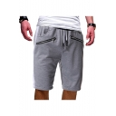 Summer New Fashion Double Zip Embellishment Drawstring Waist Men's Simple Plain Cotton Relaxed Sweat Shorts