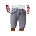 Summer New Fashion Double Zip Embellishment Drawstring Waist Men's Simple Plain Cotton Relaxed Sweat Shorts
