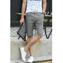 Summer Simple Plain Solid Color Zip-fly Straight Fit Cotton and Liner Men's Casual Chino Shorts