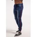 New Fashion Contrast Stripe Side Men's Skinny Fit Dark Blue Jeans