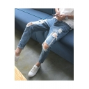 Men's Popular Fashion Simple Plain Knee Cut Rolled Cuffs Light Blue Retro Ripped Jeans