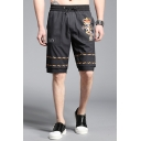 Men's Summer Stylish Letter Badge Horse Pattern Drawstring Waist Black Casual Active Shorts