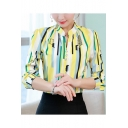 Office Lady Fashion Vertical Striped Long Sleeve Stand Collar Fitted Shirt Blouse