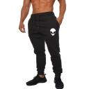 Men's Popular Fashion ET Alien Printed Drawstring Waist Slim Fit Casual Sweatpants