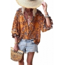 Summer Holiday Fashion Tropical Printed Three-Quarter Sleeve Casual Loose Button Shirt