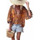 Summer Holiday Fashion Tropical Printed Three-Quarter Sleeve Casual Loose Button Shirt