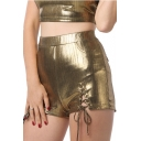 Womens Sexy Cutout Lace-Up Front Metallic Color Night Club Party Skinny Shorts