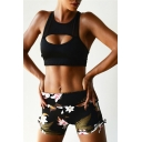 Womens Fancy Floral Printed Bow-Tied Side Skinny Fit Sport Yoga Shorts