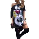 Cool Funny Cartoon Animal Print Oblique Shoulder Short Sleeve Loose Black T-Shirt Dress
