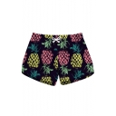New Popular Summer Tropical Pineapple Printed Womens Casual Swimwear Beach Shorts