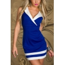 Womens Stylish Colorblock Notched Lapel Collar Sleeveless Mini Bodycon Club Dress