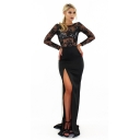 Womens Fashion Black Round Neck Long Sleeve Lace-Panel Cutout Back Split Side Maxi Evening Dress