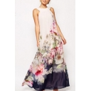 Womens Fancy Boutique Floral Painting Sleeveless White Maxi Swing Evening Dress