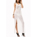 Womens Fancy V-Neck Sleeveless Tassel Embellished Sexy Split Side Maxi Chiffon Bikini Cover Up Dress