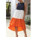 Womens Summer Popular Color Block Round Neck Sleeveless Midi Swing Tank Dress