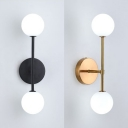 Black/Gold Bowtie Wall Sconce Post Modern White Glass Shade Wall Lamp for Bedside Hallway Bathroom