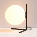 Post Modern Sphere Shade Desk Lamp for Bedside White Glass 1 Light Table Lamp in Black/Gold