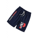 Men's Letter Printed Drawstring Waist Casual Loose Sports Shorts