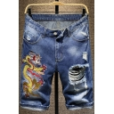 Men's Summer New Fashion Dragon Embroidery Pattern Zip-fly Blue Denim Shorts