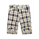 Men's Summer Trendy Colorblock Plaid Pattern Casual Chino Shorts