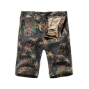 Men's Summer New Trendy Leaves Printed Zip-fly Casual Cotton Chino Shorts