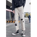 Men's New Stylish Colorblock Patched Flap Pocket Side Rolled Cuffs Straight Loose Cargo Pants
