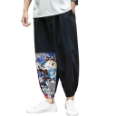 Summer New Fashion Chinese Style Printed Linen Cropped Wide-Leg Casual Pants for Men