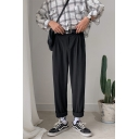 Guys Fashion Simple Plain Straight Rolled Cuffs Casual Cropped Loose Dress Pants