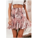 Womens Trendy Pink Floral Print Drawstring Waist Mini Chiffon Ruffled Skirt