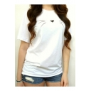 Fashionable Cat Face Print Round Neck Short Sleeves Summer T-shirt