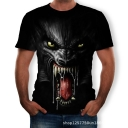 Cool Horrible Wolf 3D Pattern Round Neck Short Sleeve Black Tee
