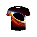 Cool Fancy 3D Universe Printed Round Neck Short Sleeve T-Shirt