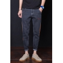 Men's Stylish Letter Embroidered Stripe Side Rolled Cuffs Casual Tapered Jeans