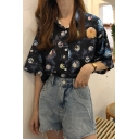Girls Vintage Planet Pattern Short Sleeve Casual Loose Button Shirt