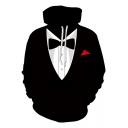 Hot Popular Black 3D Fake Tie Blazer Print Long Sleeve Pullover Hoodie