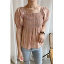 Girls Trendy Plaid Printed Vintage Square Neck Puff Short Sleeve Shirred Fitted Blouse Top