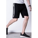 Men's Summer Trendy Colorblock Letter Printed Elastic Waist Relaxed Sweat Shorts