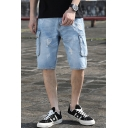 Men's Summer Trendy Flap Pocket Side Light Blue Ripped Cargo Denim Shorts