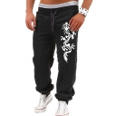Men's New Fashion Dragon Printed Drawstring Waist Casual Loose Sweatpants