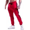 Men's Hot Fashion Logo Printed Stripe Side Zipped Pocket Rivet Embellished Drawstring Waist Casual Sweatpants
