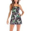 Sweet Girls Summer Hot Fashion Black Leaf Floral Print Straps Backless Casual Romper
