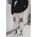 Men's Trendy Colorblock Letter 06 Printed Multi-pocket Straight Loose Cropped Cargo Pants