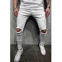 Men's Popular Fashion Knee Cut Simple Plain Casual Frayed Pencil Pants
